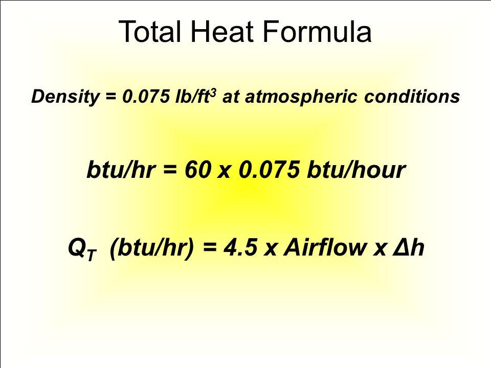 Density = 0.075 lb/ft 3 at atmospheric conditions btu/hr = 60 x 0.075 btu/hour Q T (btu/hr) = 4.5 x Airflow x Δh Total Heat Formula
