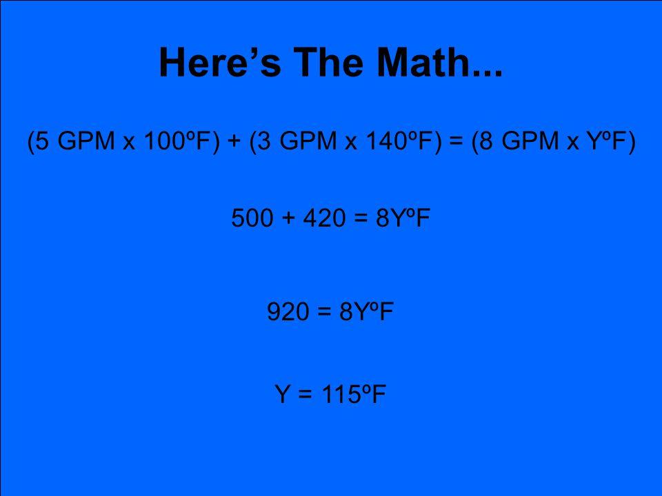 Heres The Math... (5 GPM x 100ºF) + (3 GPM x 140ºF) = (8 GPM x YºF) 500 + 420 = 8YºF 920 = 8YºF Y = 115ºF