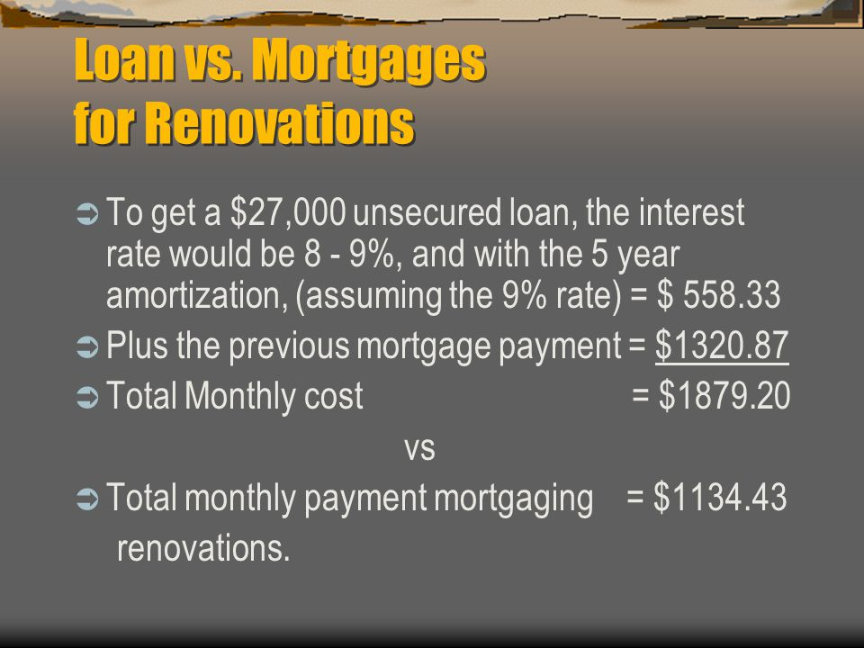 Loan vs. Mortgages for Renovations Most lenders will provide unsecured loans to pay for renovations, however most of the banks will only accept a maxi