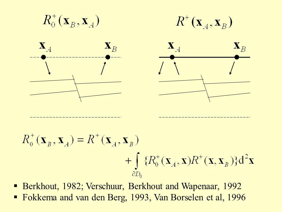 Berkhout, 1982; Verschuur, Berkhout and Wapenaar, 1992 Fokkema and van den Berg, 1993, Van Borselen et al, 1996