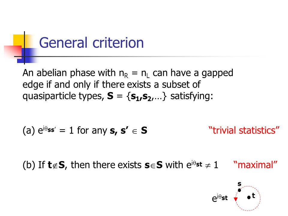 General criterion An abelian phase with n R = n L can have a gapped edge if and only if there exists a subset of quasiparticle types, S = {s 1,s 2,…}