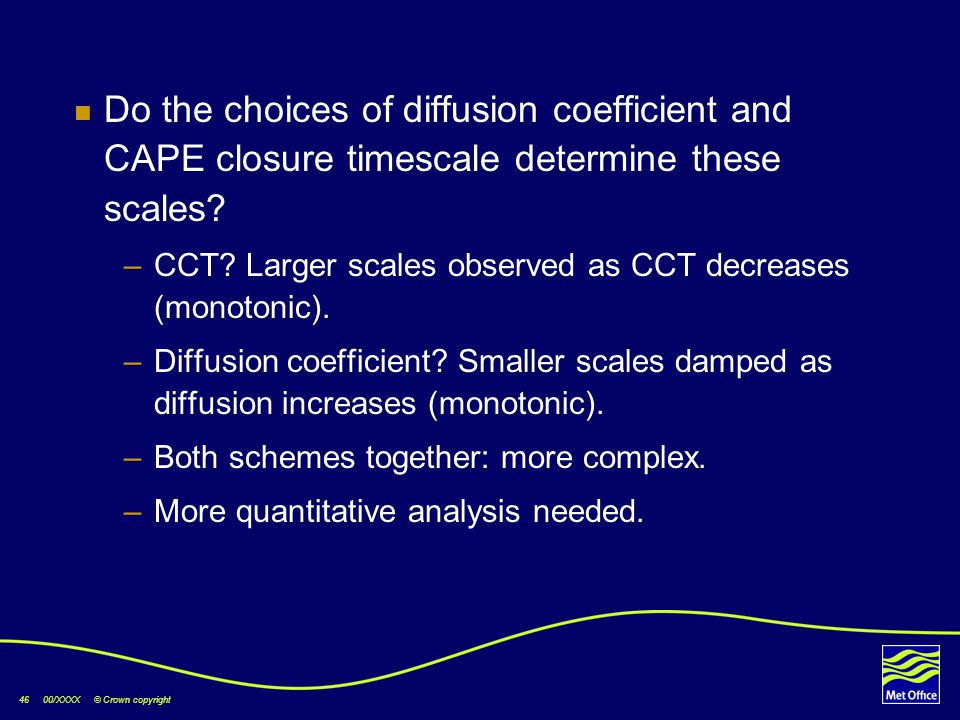 46 00/XXXX © Crown copyright Do the choices of diffusion coefficient and CAPE closure timescale determine these scales? –CCT? Larger scales observed a