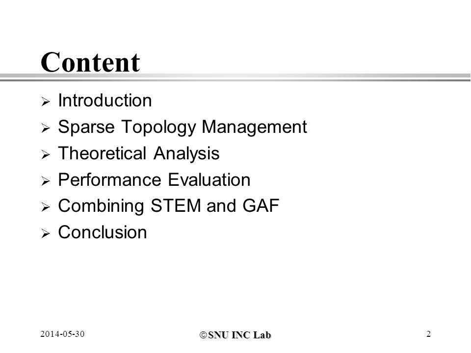 SNU INC Lab SNU INC Lab 2014-05-302 Content Introduction Sparse Topology Management Theoretical Analysis Performance Evaluation Combining STEM and GAF Conclusion