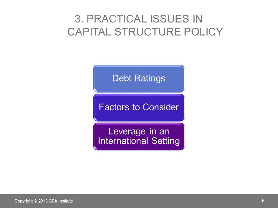 3. PRACTICAL ISSUES IN CAPITAL STRUCTURE POLICY Debt RatingsFactors to Consider Leverage in an International Setting Copyright © 2013 CFA Institute 15