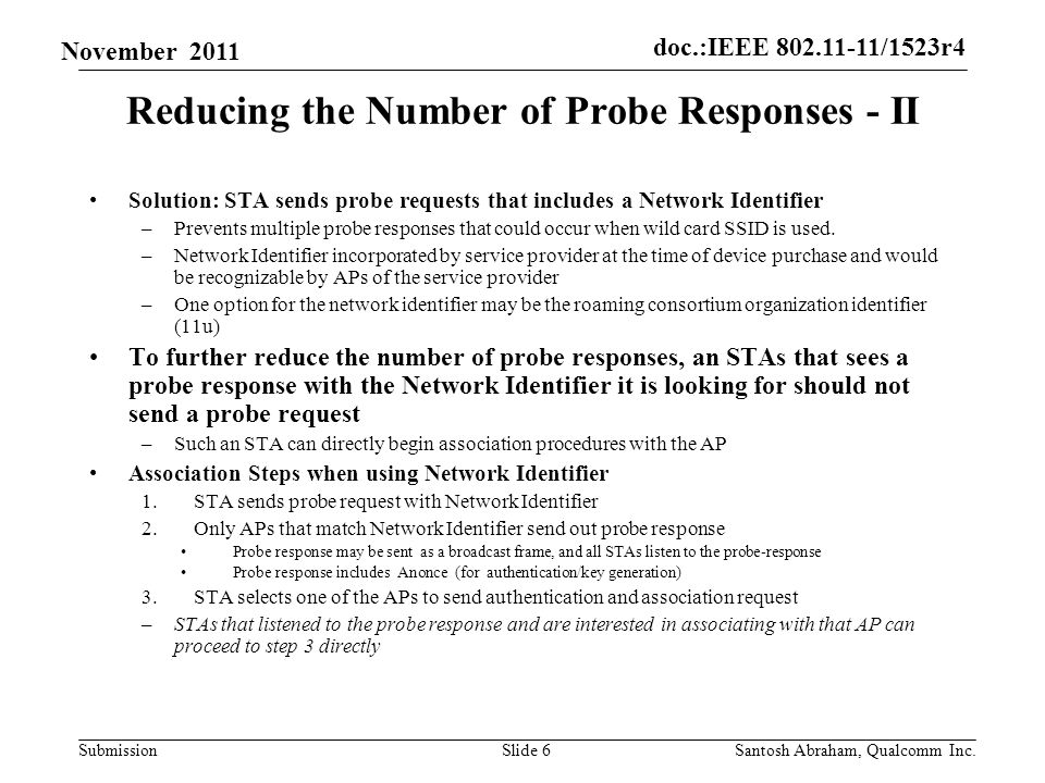 doc.:IEEE 802.11-11/1523r4 Submission November 2011 Reducing the Number of Probe Responses - III Termination of pending Probe Responses –AP may terminate a queued probe response to an STA (say STA1) if it sees an association request from STA1.
