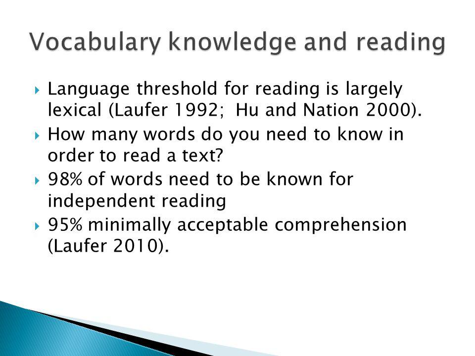 Language threshold for reading is largely lexical (Laufer 1992; Hu and Nation 2000).