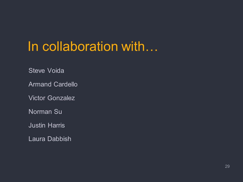 In collaboration with… Steve Voida Armand Cardello Victor Gonzalez Norman Su Justin Harris Laura Dabbish 29