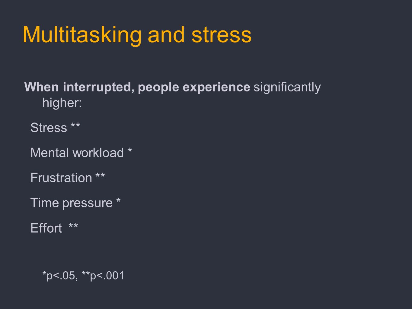 Multitasking and stress When interrupted, people experience significantly higher: Stress ** Mental workload * Frustration ** Time pressure * Effort **