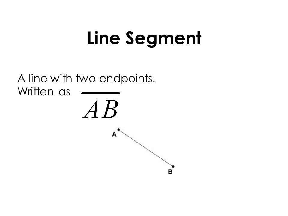 Line Segment A line with two endpoints. Written as