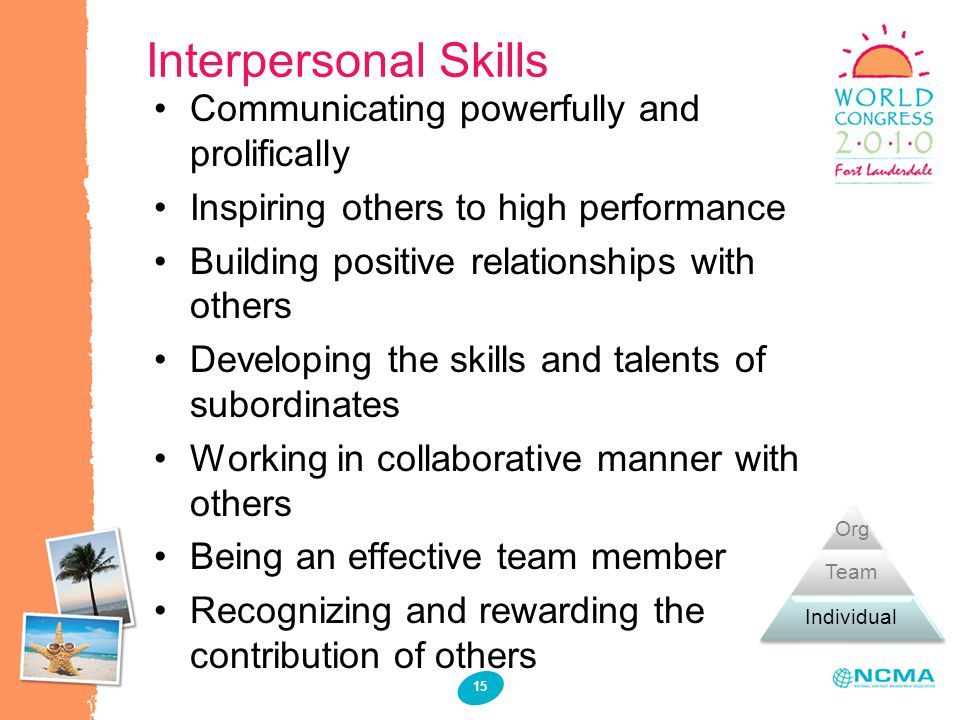 Interpersonal Skills 15 Communicating powerfully and prolifically Inspiring others to high performance Building positive relationships with others Dev