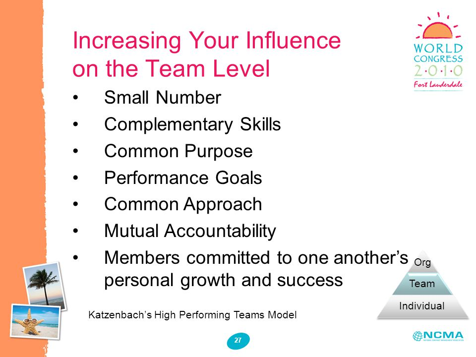 Increasing Your Influence on the Team Level 27 Small Number Complementary Skills Common Purpose Performance Goals Common Approach Mutual Accountabilit