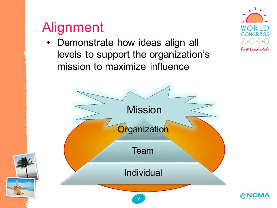 Alignment 9 Demonstrate how ideas align all levels to support the organizations mission to maximize influence Mission Organization Team Individual