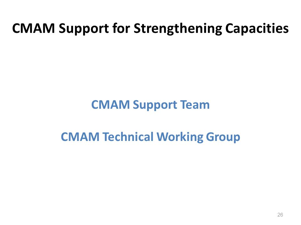 CMAM Support for Strengthening Capacities CMAM Support Team CMAM Technical Working Group 26