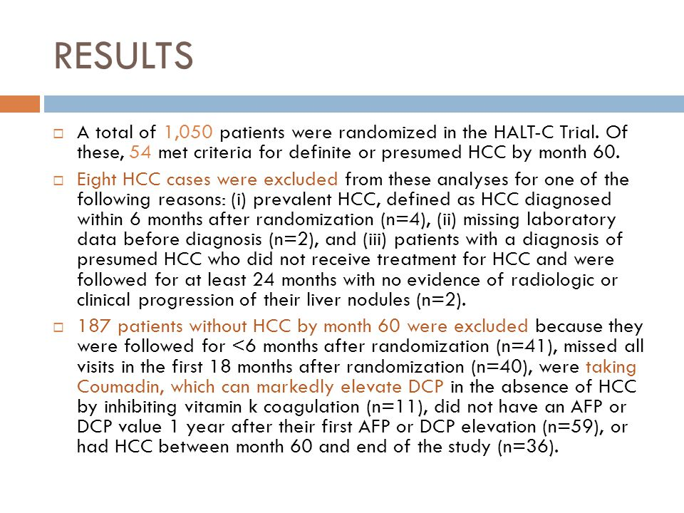 RESULTS A total of 1,050 patients were randomized in the HALT-C Trial.