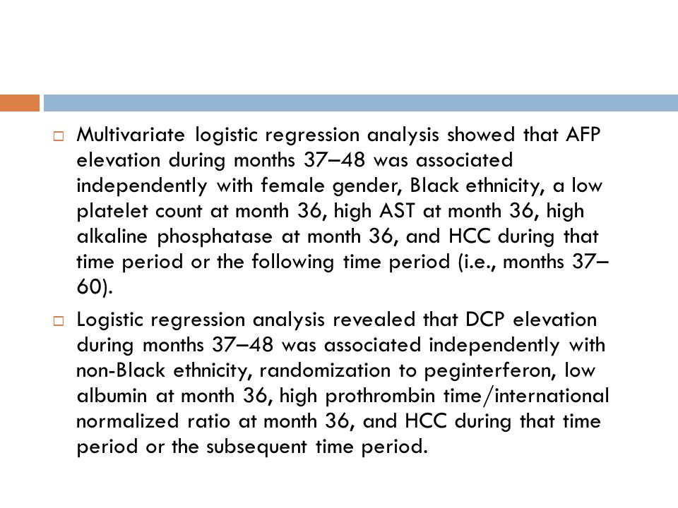 Multivariate logistic regression analysis showed that AFP elevation during months 37–48 was associated independently with female gender, Black ethnicity, a low platelet count at month 36, high AST at month 36, high alkaline phosphatase at month 36, and HCC during that time period or the following time period (i.e., months 37– 60).