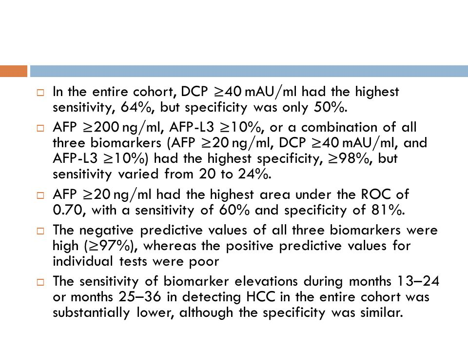 In the entire cohort, DCP 40 mAU/ml had the highest sensitivity, 64%, but specificity was only 50%. AFP 200 ng/ml, AFP-L3 10%, or a combination of all