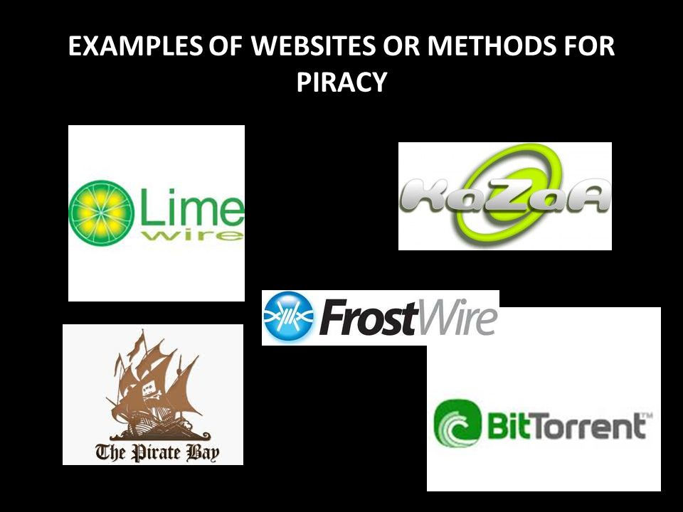 EXAMPLES OF WEBSITES OR METHODS FOR PIRACY