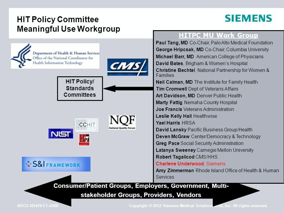 A9133-101479-E1-4A00 Copyright © 2012 Siemens Medical Solutions USA, Inc. All rights reserved. HIT Policy Committee Meaningful Use Workgroup HIT Polic