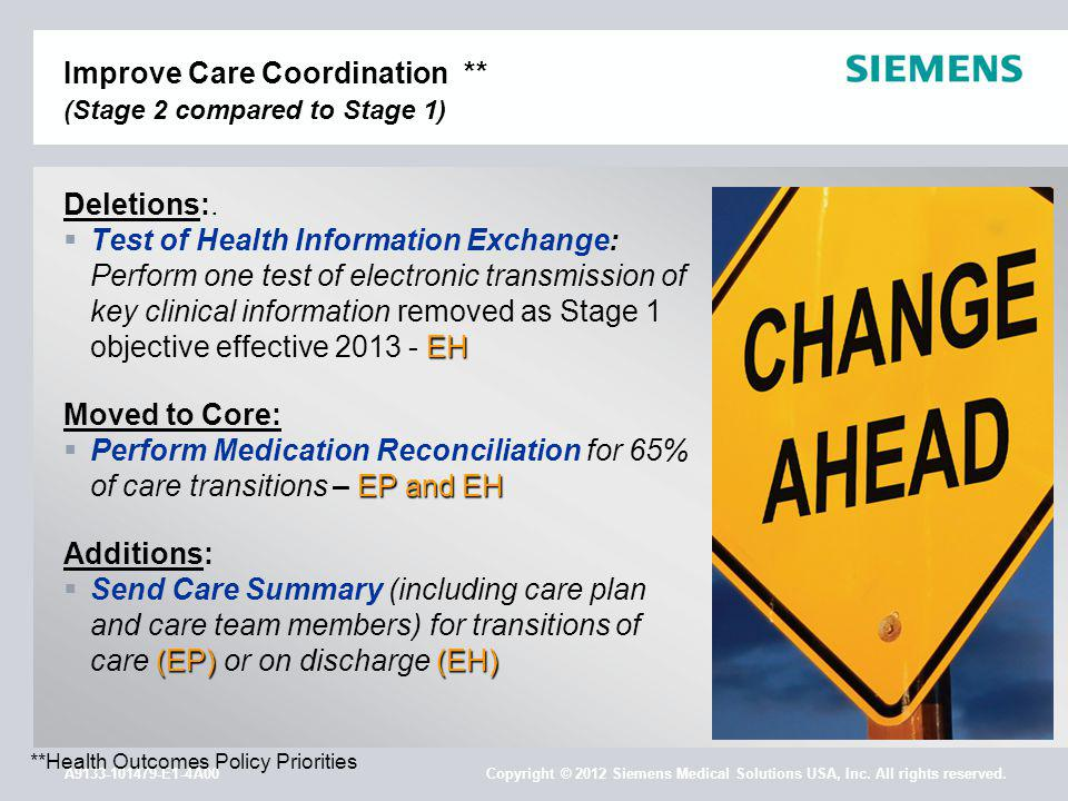 A9133-101479-E1-4A00 Copyright © 2012 Siemens Medical Solutions USA, Inc. All rights reserved. Improve Care Coordination ** (Stage 2 compared to Stage