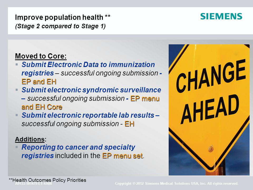 A9133-101479-E1-4A00 Copyright © 2012 Siemens Medical Solutions USA, Inc. All rights reserved. Improve population health ** (Stage 2 compared to Stage