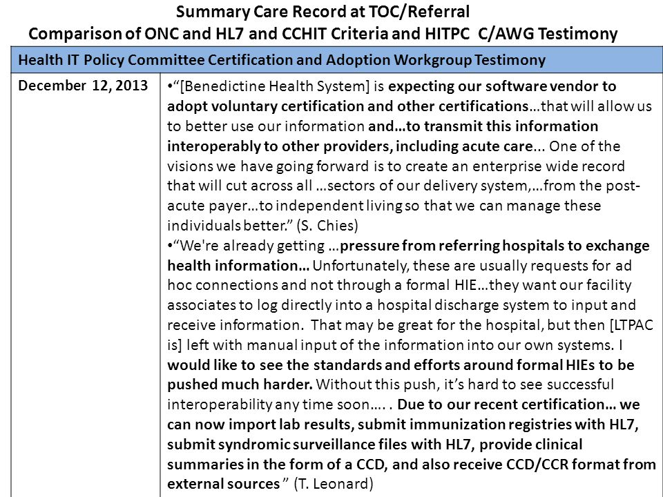 Summary Care Record at TOC/Referral Comparison of ONC and HL7 and CCHIT Criteria and HITPC C/AWG Testimony Health IT Policy Committee Certification an