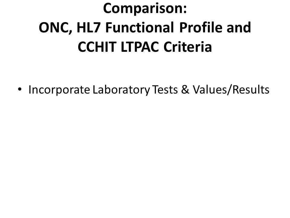 Comparison: ONC, HL7 Functional Profile and CCHIT LTPAC Criteria Incorporate Laboratory Tests & Values/Results