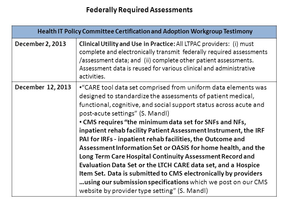 Federally Required Assessments Health IT Policy Committee Certification and Adoption Workgroup Testimony December 2, 2013Clinical Utility and Use in P