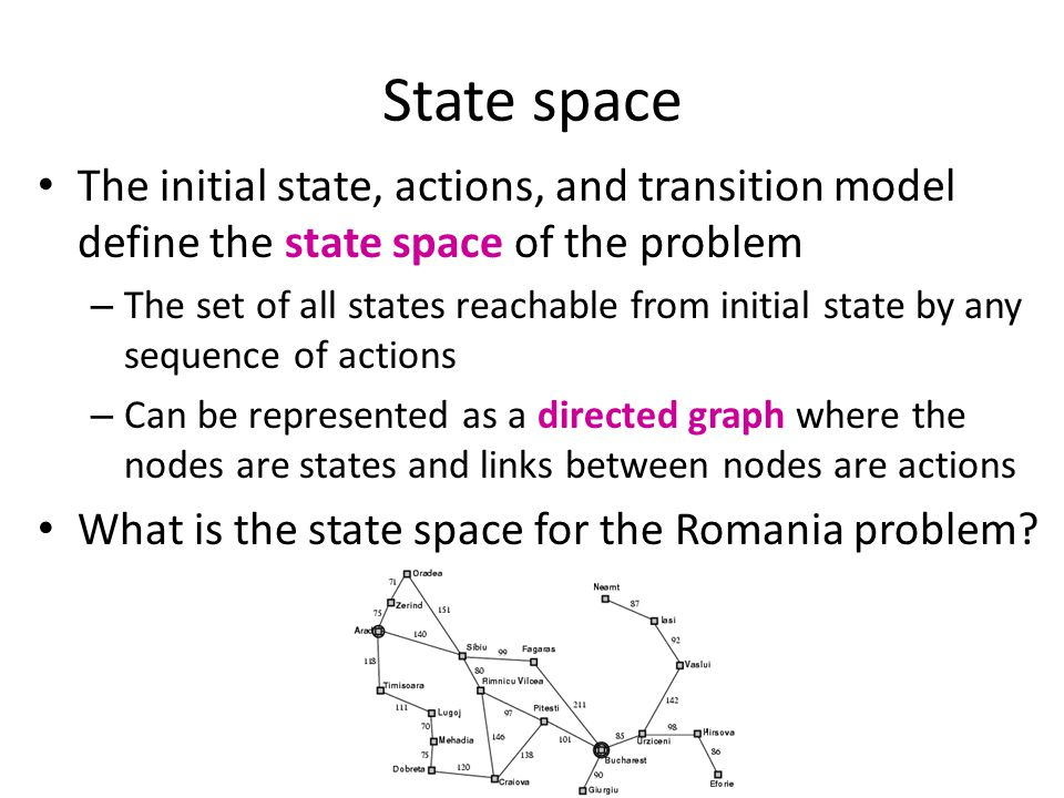 State space The initial state, actions, and transition model define the state space of the problem – The set of all states reachable from initial stat