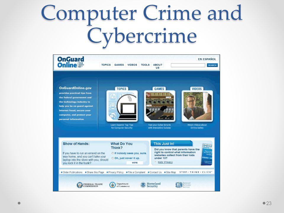 Computer Crime and Cybercrime 23