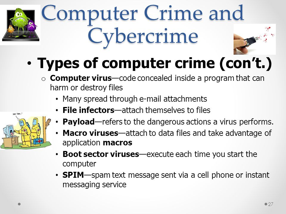 Computer Crime and Cybercrime Types of computer crime (cont.) o Computer viruscode concealed inside a program that can harm or destroy files Many spre