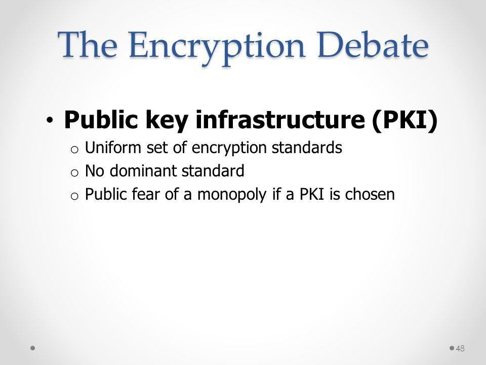 Public key infrastructure (PKI) o Uniform set of encryption standards o No dominant standard o Public fear of a monopoly if a PKI is chosen The Encryp