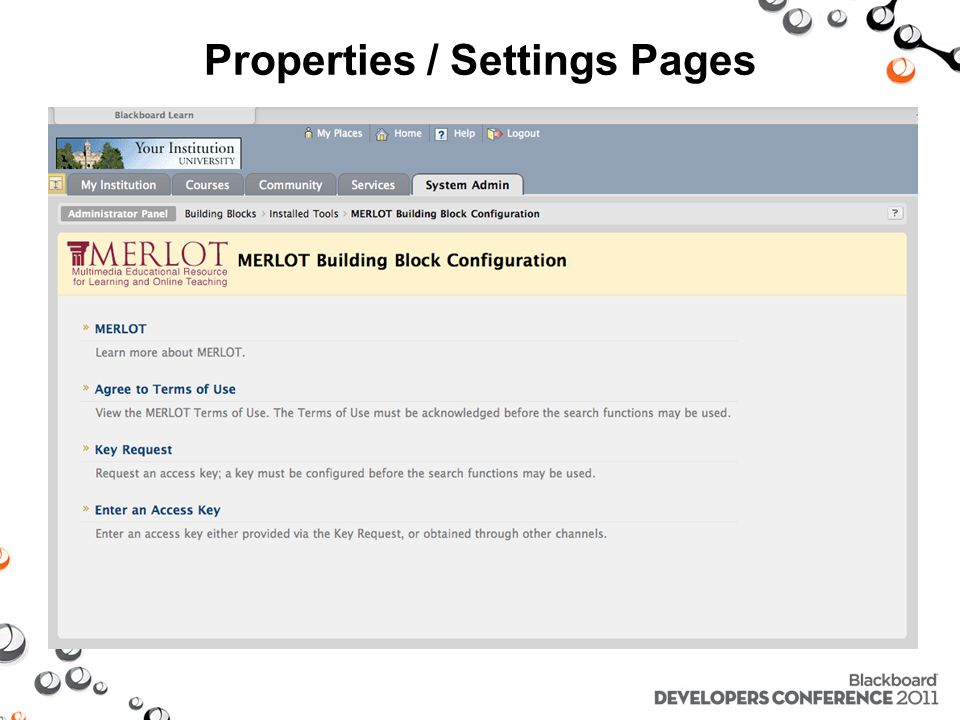 Properties / Settings Pages