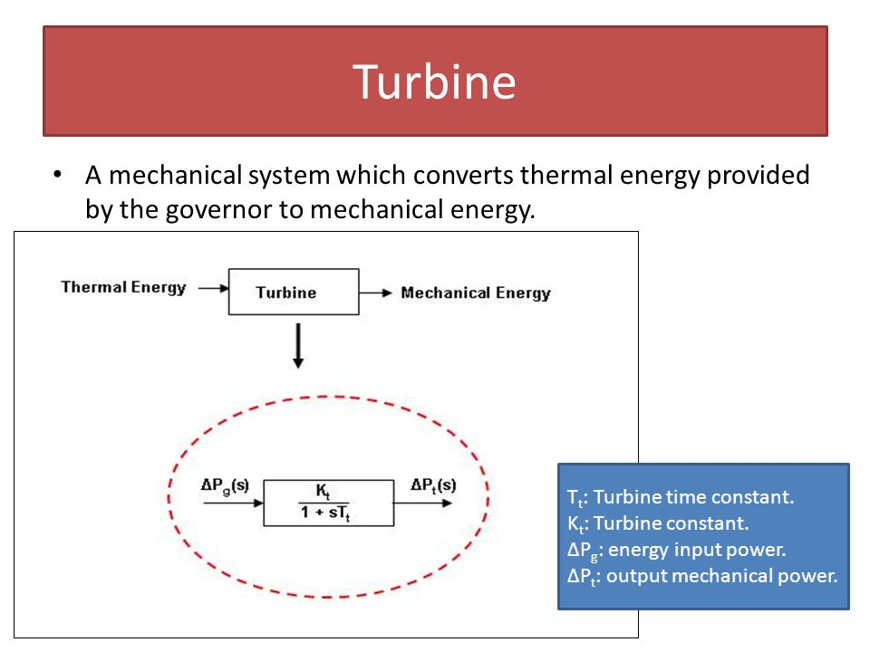 Turbine A mechanical system which converts thermal energy provided by the governor to mechanical energy. T t : Turbine time constant. K t : Turbine co
