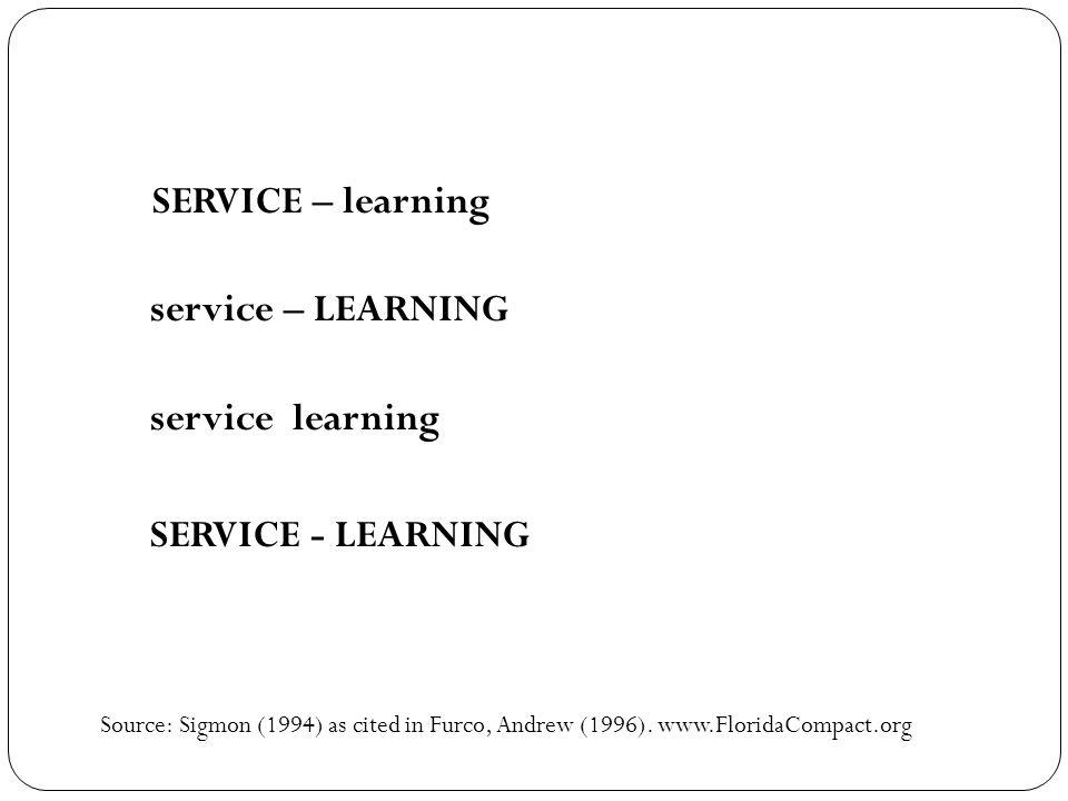 SERVICE – learning service – LEARNING service learning SERVICE - LEARNING Source: Sigmon (1994) as cited in Furco, Andrew (1996). www.FloridaCompact.o