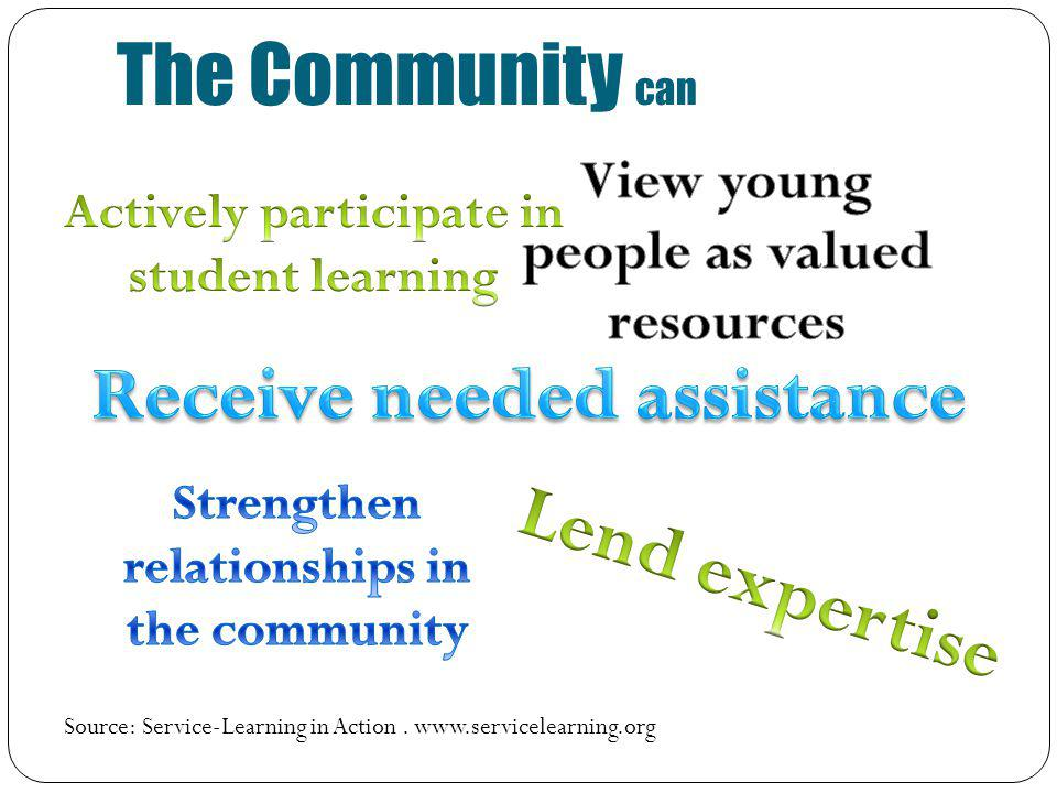 The Community can Source: Service-Learning in Action. www.servicelearning.org