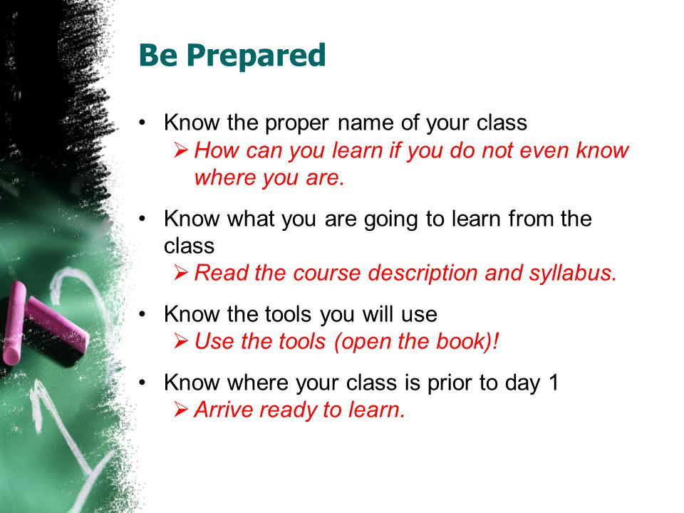 Be Prepared Know the proper name of your class How can you learn if you do not even know where you are.