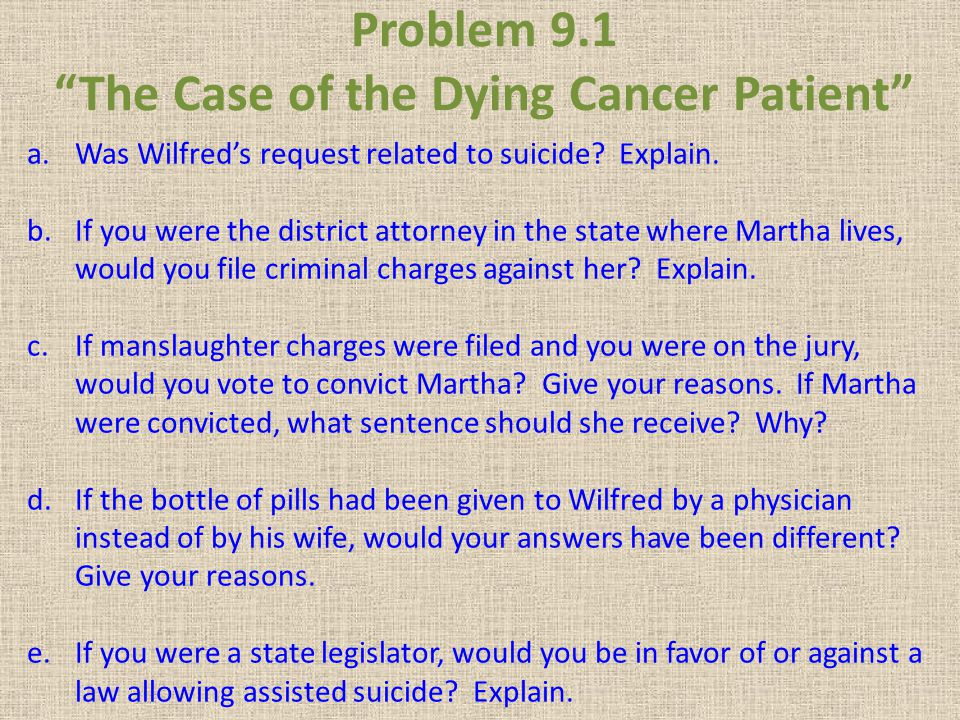 Problem 9.1 The Case of the Dying Cancer Patient a.