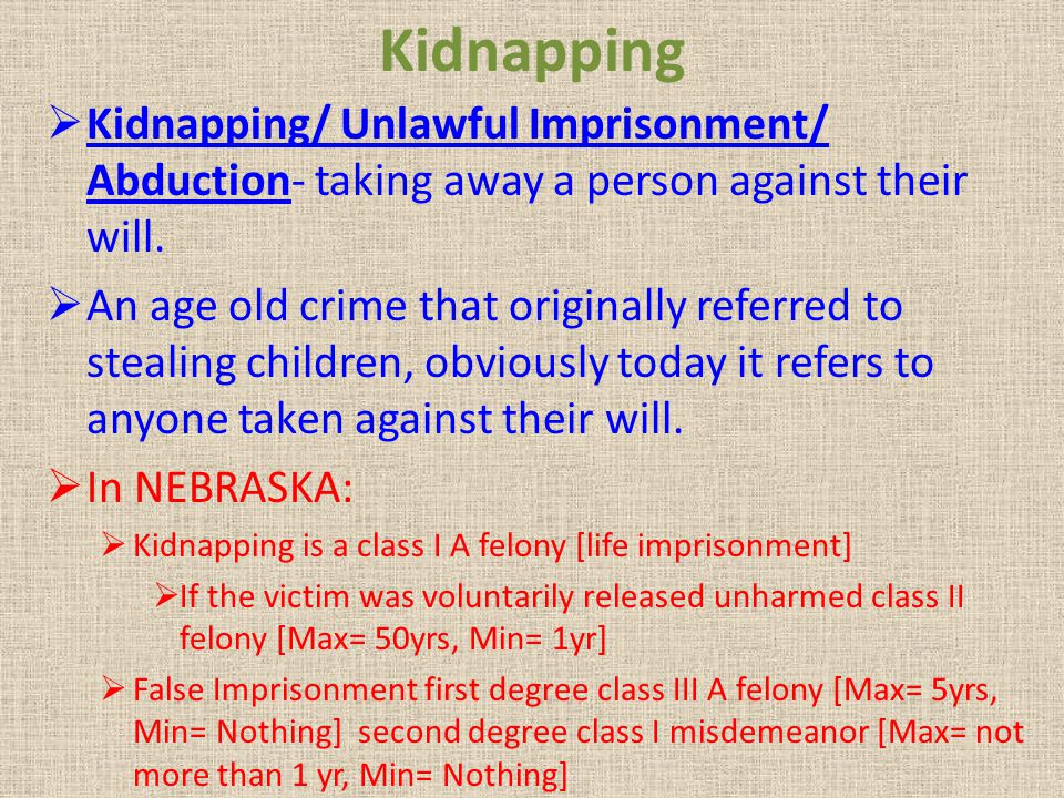 Kidnapping Kidnapping/ Unlawful Imprisonment/ Abduction- taking away a person against their will.