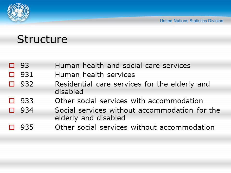 Structure 93Human health and social care services 931Human health services 932Residential care services for the elderly and disabled 933Other social services with accommodation 934Social services without accommodation for the elderly and disabled 935Other social services without accommodation