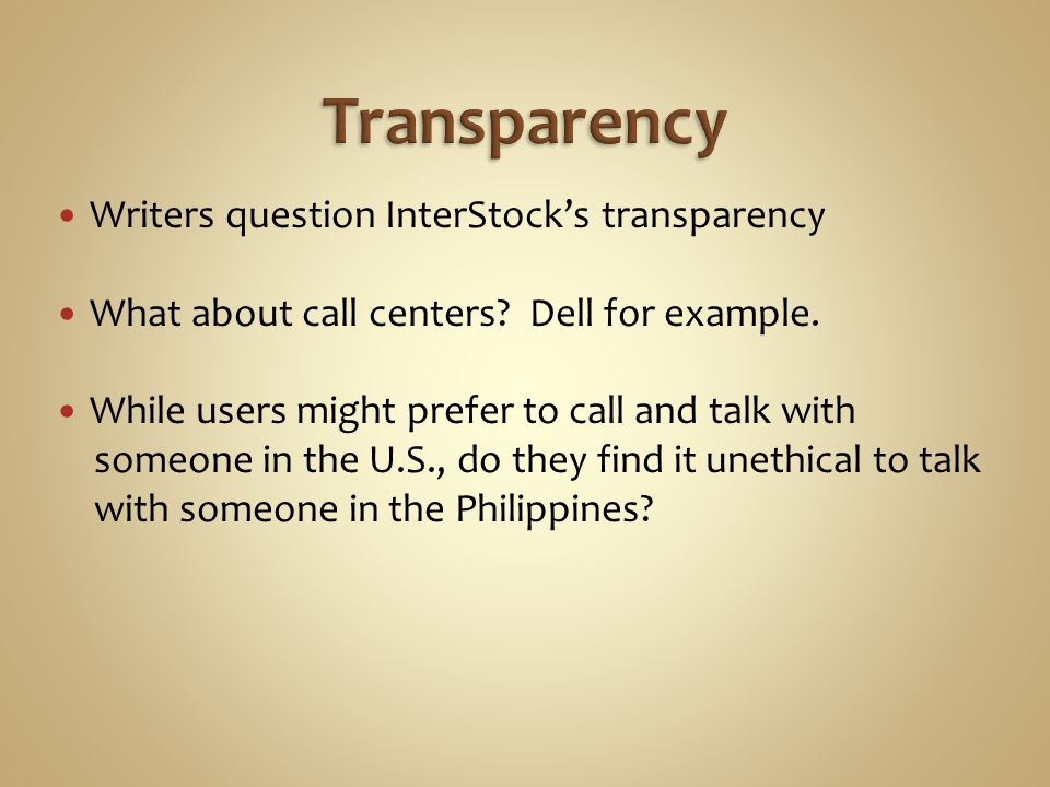 Writers question InterStocks transparency What about call centers.