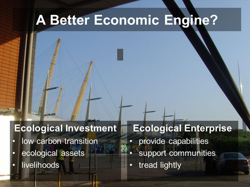 A Better Economic Engine? Ecological Investment low carbon transition ecological assets livelihoods Ecological Enterprise provide capabilities support