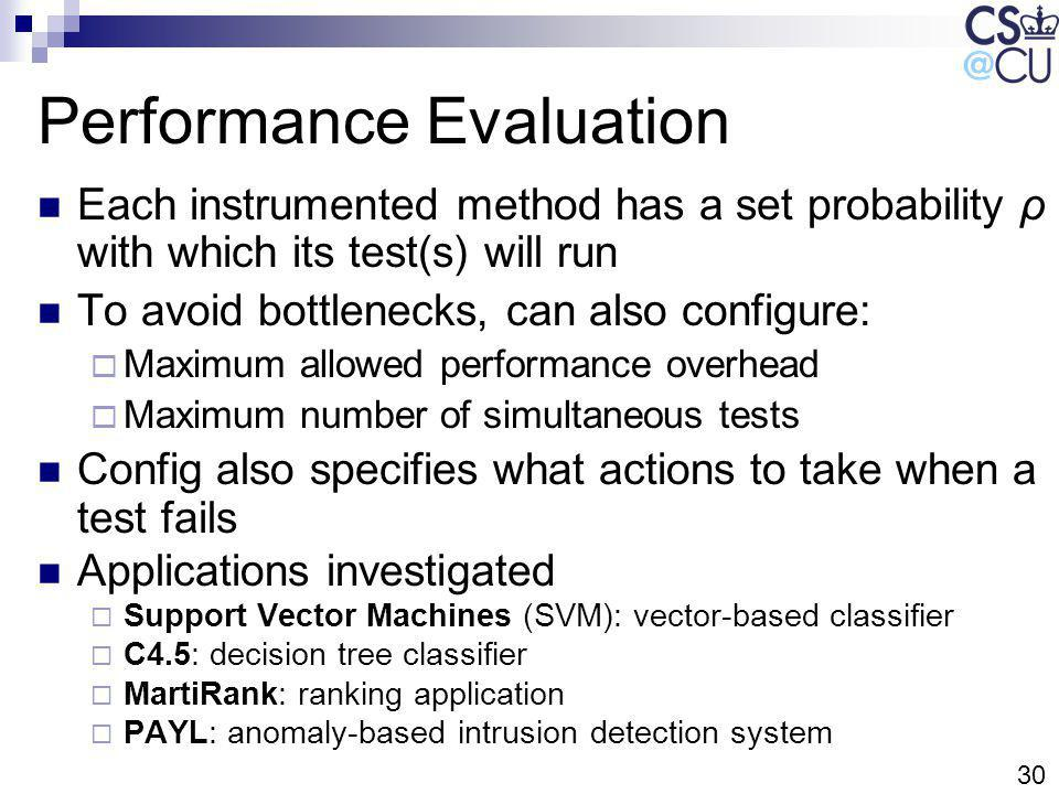 30 Performance Evaluation Each instrumented method has a set probability ρ with which its test(s) will run To avoid bottlenecks, can also configure: M