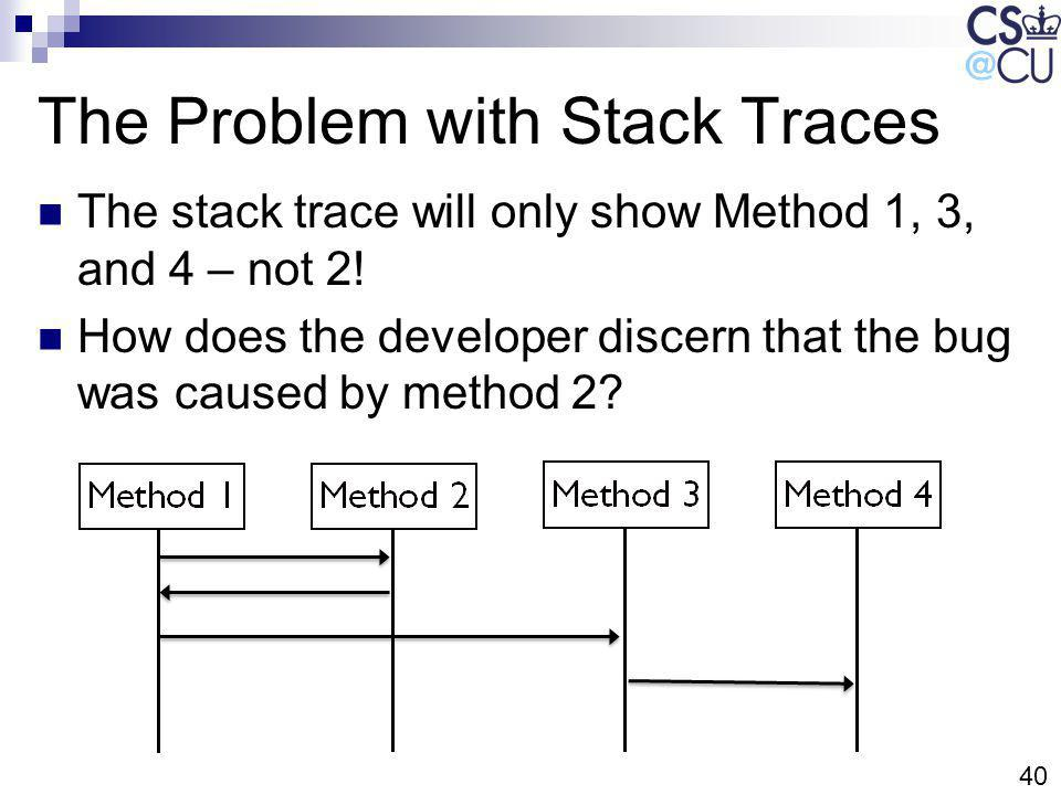 40 The Problem with Stack Traces The stack trace will only show Method 1, 3, and 4 – not 2.