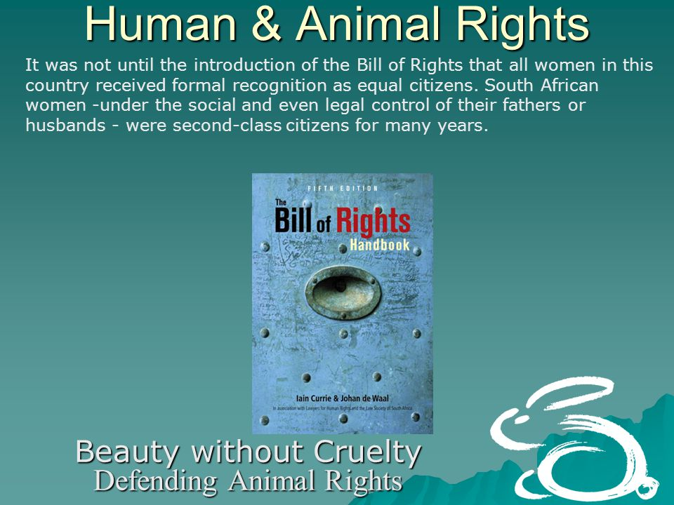 Human & Animal Rights Beauty without Cruelty Defending Animal Rights It was not until the introduction of the Bill of Rights that all women in this country received formal recognition as equal citizens.