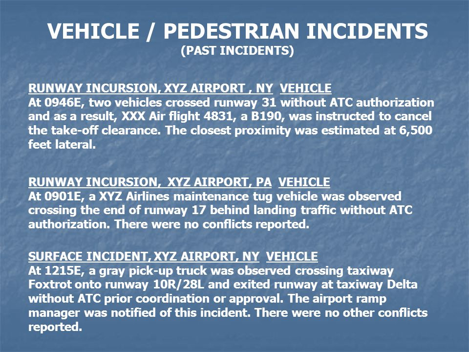 VEHICLE / PEDESTRIAN INCIDENTS (PAST INCIDENTS) RUNWAY INCURSION, XYZ AIRPORT, NY VEHICLE At 0946E, two vehicles crossed runway 31 without ATC authorization and as a result, XXX Air flight 4831, a B190, was instructed to cancel the take-off clearance.