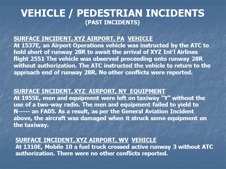 VEHICLE / PEDESTRIAN INCIDENTS (PAST INCIDENTS) SURFACE INCIDENT, XYZ AIRPORT, PA VEHICLE At 1537E, an Airport Operations vehicle was instructed by the ATC to hold short of runway 28R to await the arrival of XYZ Intl Airlines flight 2551 The vehicle was observed proceeding onto runway 28R without authorization.