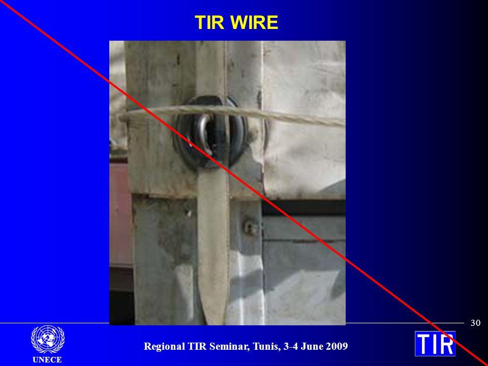 UNECE Regional TIR Seminar, Tunis, 3-4 June 2009 30 TIR WIRE