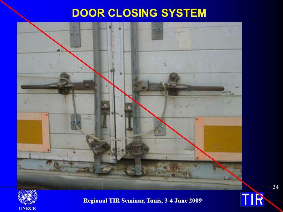 UNECE Regional TIR Seminar, Tunis, 3-4 June 2009 34 DOOR CLOSING SYSTEM