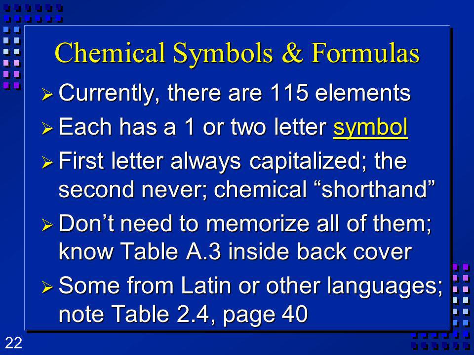 22 Chemical Symbols & Formulas Currently, there are 115 elements Currently, there are 115 elements Each has a 1 or two letter symbol Each has a 1 or t