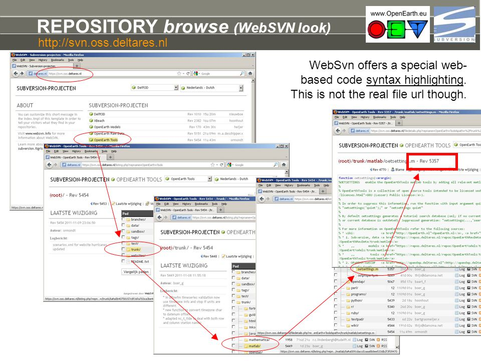 REPOSITORY browse (WebSVN look) WebSvn offers a special web- based code syntax highlighting. This is not the real file url though. http://svn.oss.delt